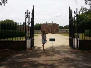 My sister in front of the palace.