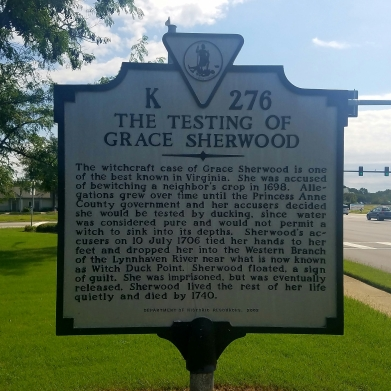 The Testing of Grace Sherwood sign.